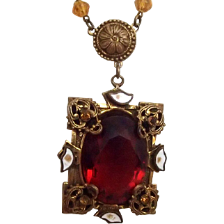 Czech Topaz Necklace w Enamel
