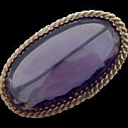 Unsigned Czech Pin-Brooch in True Purple
