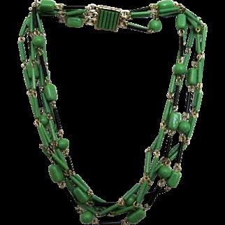 Mid-Century Vintage Glass 6 Strand Necklace