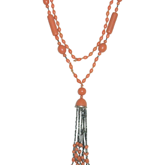 Vintage Flapper Necklace in Coral Celluloid