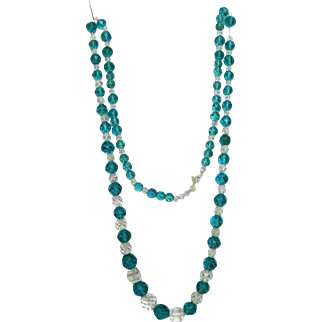 Lovely Faceted & Vintage Aqua Glass Beads