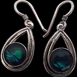 Deep Green Marbled Vintage Dangle Earrings