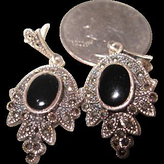 Sterling Marcasite Dangling Earrings