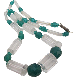 Unique Vintage beads of Crystal with Green