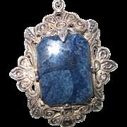 Vintage Sterling Pendant w Blue Stone