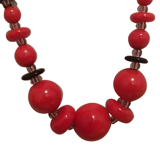 Red and Black Czech Glass Beads