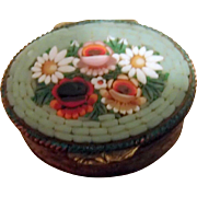 Tiny Pill Box with Mosaic Daisies