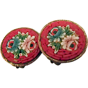 Small Red Mosaic Clip Earrings
