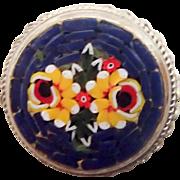 Round Mosaic Pin w Flowers