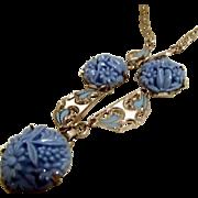 Beautiful Vintage Necklace in Blue Glass, Enamel