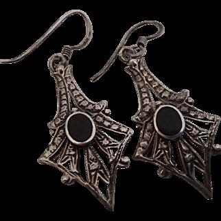 Sterling Drop Earrings w Black Stone