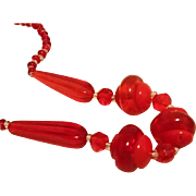 Vintage Czech Red Glass Necklace