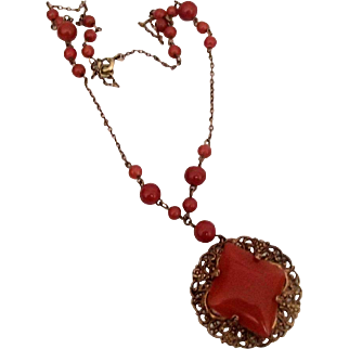 Czech  Necklace of Reddish Brown Glass
