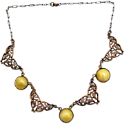 Czech Vintage Necklace w Yellow