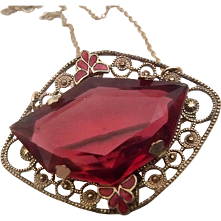 Red Czech Pin on a Chain