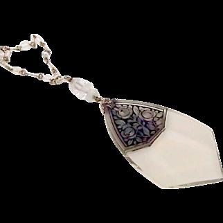 Rare Long Czech Necklace w Darkened Etching