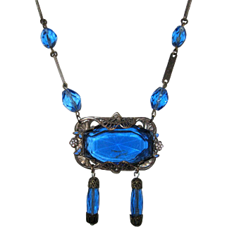 Czech Necklace w Blue Glass