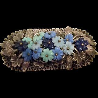 Flower Pin w Blue & Lt. Green Flowers