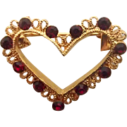 Sweet Little Heart Pin w Red Stones