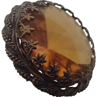Large Topaz Glass Pin