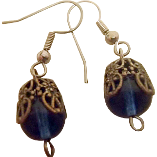 Vintage Blue Ball Earrings w Filigree