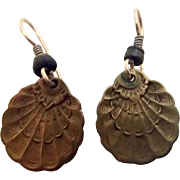 Vintage Shell Brass Earrings