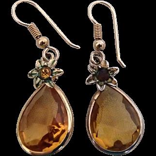 Deep Yellow-Amber Vintage Earrings