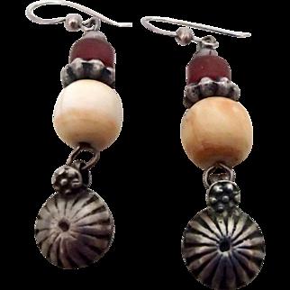 Vintage Sterling Earrings - Amber & Bone