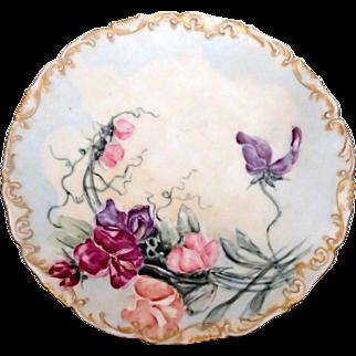 Hand painted Plate - Sweet Peas