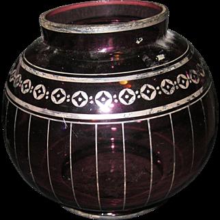 Large Czech Bowl w Silver, Amethyst