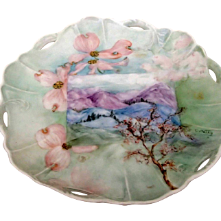 Unusual Hand-Painted Plate - Cherry Blossoms