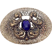 Hammered Brass Sash Pin w Blue