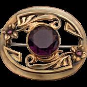Cast Brass Sash Pin w Round Amethyst Glass