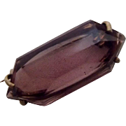Signed Czech Amethyst Glass Pin