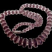 Vintage Glass Necklace of Amethyst Rondelles