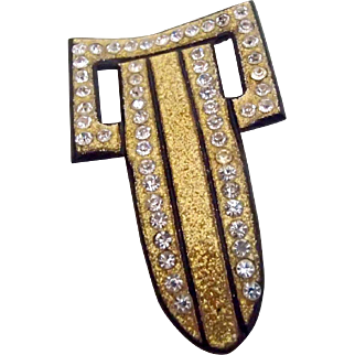 Art Deco Buckle Pin w Glitter & Glow