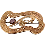 Graceful Art Nouveau Brooch w Amethyst Glass