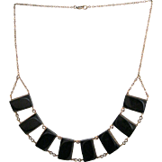 Black Lucite Link Necklace