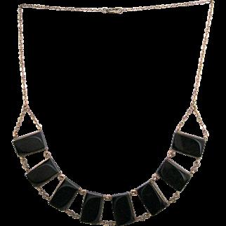 Black Lucite Link Necklace