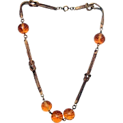 Unsigned Czech Necklace of Knotted Chain & Topaz
