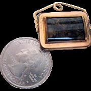 Rose Gold Filled Watch Fob w Carnelian, Moss Agate