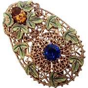 Unusual Filigree Clip w Jewels and Painted Leaves