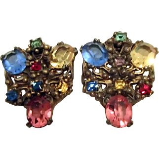 Pair of Multicolored Czech Dress Clips
