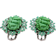Coro -Pair of Pressed Glass & Enamel Spring Green Dress Clips