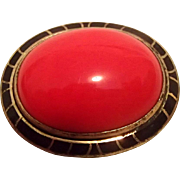 Red & Black Art Deco Pin - Czech?