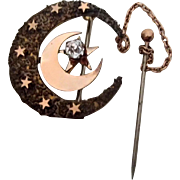 Victorian Crescent Pin w Shiny Gold