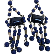 Vintage Czech Cobalt Blue Glass Dangle Earrings