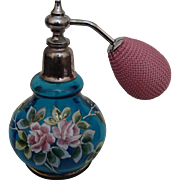 Vintage Blown Glass, Handpainted Aqua Perfume