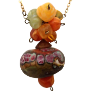 Colorful Necklace of Upcycled beads,  Chains & More