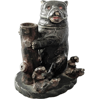 Cast Metal Bear Inkwell in Original Paint